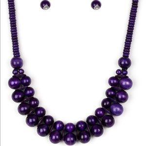 Purple wooden double layer necklace and earrings
